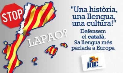 """Mapa de """"países Catalanes (Països Catalans), panfleto en contra de la LAPAO de Valencia - Foto JNC juventudes nacionalistas de Cataluña"""