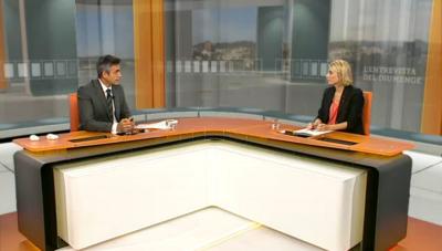 La directora del tributo y Juego del gobierno separatista catalán, Elsa Artadi, durante su entrevista ; ayer en 3/24 horas de Tv3 - foto Tv3