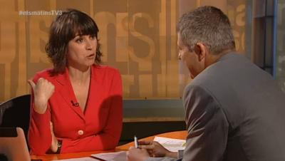 El vice presidente 1º de Sociedad Civil Catalana, Joaquim Coll, en su entrevista esta mañana en TV3 - Foto TV3
