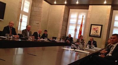Miembros del CATN reunidos con el gobierno separatista catalán esta mañan en el palacio del gobierno regional de Cataluña. Foto anc